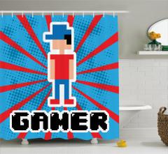 Video Oyunu Temalı Duş Perdesi Mavi Kırmızı Çizgi