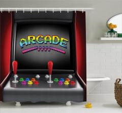 Nostaljik Oyun Makinesi Temalı Duş Perdesi Siyah