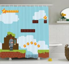 Bilgisayar Oyunu Temalı Duş Perdesi Mavi Konsol