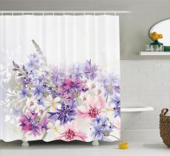 Pembe ve Mor Çiçek Desenli Duş Perdesi Çeyizlik Şık