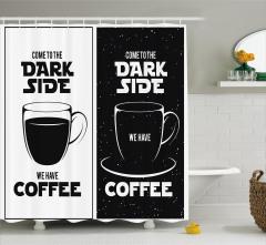 Star Wars Temalı Duş Perdesi Siyah Beyaz Kahve Uzay