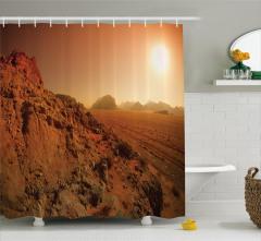 Kayalık Manzaralı Duş Perdesi Kahverengi Yol Güneş