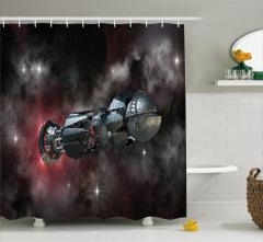 Uzay Temalı Duş Perdesi Siyah Gri Galaksi Kozmos
