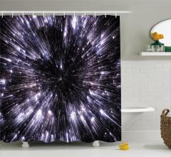 Yıldızlar ve Uzay Temalı Duş Perdesi Gri Siyah Şık