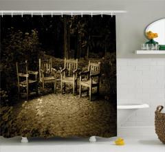 İskemle Desenli Duş Perdesi Nostaljik Kahverengi
