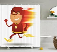 Flash Gordon Temalı Duş Perdesi Kırmızı Anime Şık