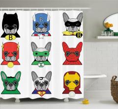 Köpek Temalı Duş Perdesi Süper Kahraman Şık Tasarım