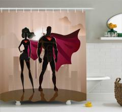 Süper Kahraman Temalı Duş Perdesi Kadın Erkek Bej