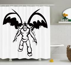 Fantastik Temalı Duş Perdesi Siyah Beyaz Şık Tasarım