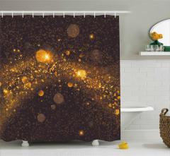 Parıltılı Desenli Duş Perdesi Altın Daire Geometrik