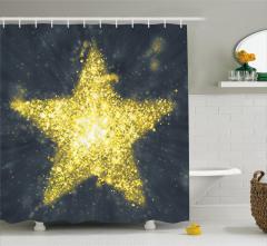 Altın Yıldız Desenli Duş Perdesi Sarı Parlak Şık