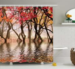Ağaç ve Nehir Manzaralı Duş Perdesi Kahverengi Doğa