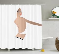 Güzel Kız Desenli Duş Perdesi Beyaz Bej Şık Tasarım