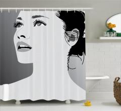 Uzun Kirpikli Kız Portreli Duş Perdesi Gri Trend Şık