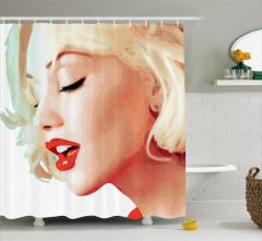 Sarışın Kız Portreli Duş Perdesi Kırmızı Ruj Trend