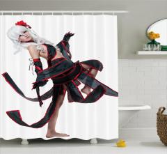 Dansçı Kız Temalı Duş Perdesi Kırmızı Siyah Beyaz