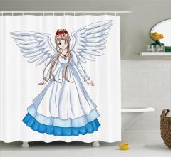 Melek Kız Desenli Duş Perdesi Çocuk İçin Beyaz Mavi