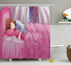 Uyuyan Kız Temalı Duş Perdesi Anime Etkili Pembe