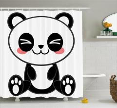 Sevimli Panda Temalı Duş Perdesi Siyah Beyaz Şık