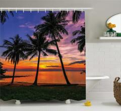 Gün Batımı Temalı Duş Perdesi Palmiye Turuncu Deniz