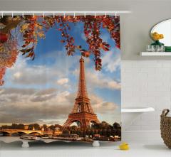 Eyfel Kulesi Manzaralı Duş Perdesi Sonbahar Ağaç