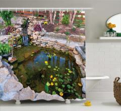 Su ve Yaprak Temalı Duş Perdesi Doğa Taş Şık Tasarım