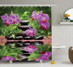Mor Çiçek ve Taş Temalı Duş Perdesi Siyah Su Terapi