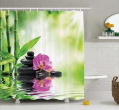 Bambu ve Çiçek Temalı Duş Perdesi Su Yeşil Siyah Şık
