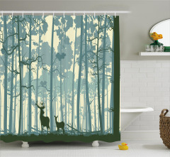 Ormandaki Geyikler Temalı Duş Perdesi Mavi Sarı Ağaç