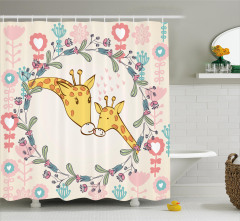 Zürafa ve Çiçek Desenli Duş Perdesi Pembe Trend