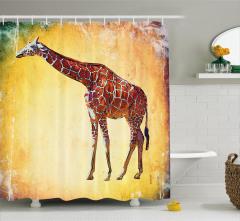 Zürafa Desenli Duş Perdesi Sarı Kahverengi Trend