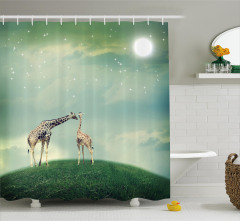Gökyüzü ve Zürafa Desenli Duş Perdesi Yeşil Trend