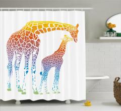 Anne ve Yavru Zürafa Temalı Duş Perdesi Turuncu Şık