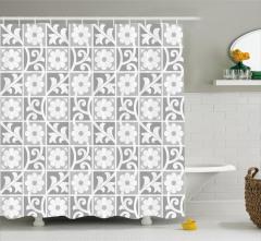 Duvar Kağıdı Temalı Duş Perdesi Gri Beyaz Çiçek