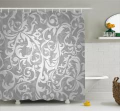 Duvar Kağıdı Desenli Duş Perdesi Gri Şık Tasarım