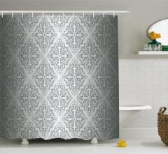 Gümüş Duvar Kağıdı Desenli Duş Perdesi Gri Trend