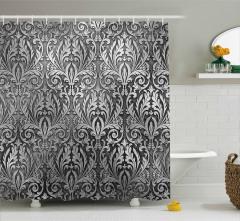 Gri Siyah Çiçek Desenli Duş Perdesi Gümüş Trend