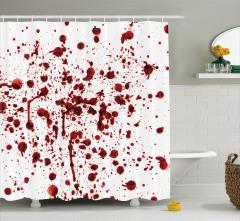 Kan Sıçraması Temalı Duş Perdesi Kırmızı Beyaz Korku