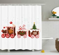 Noel Treni Desenli Duş Perdesi Kırmızı Şeker Çörek