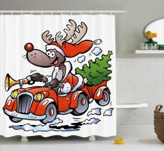 Araba Süren Noel Geyiği Temalı Duş Perdesi Kırmızı