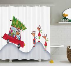 Noel Temalı Duş Perdesi Kırmızı Beyaz Çocuk İçin