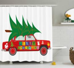Noel Ağacı ve Araba Temalı Duş Perdesi Kırmızı Yeşil