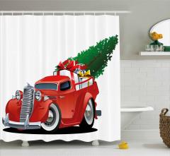 Noel Temalı Duş Perdesi Kırmızı Kamyonet Ağaç Şık