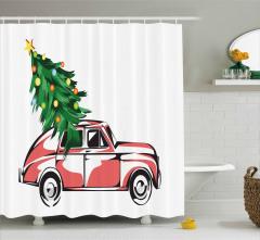 Araba ve Yılbaşı Ağacı Temalı Duş Perdesi Kırmızı