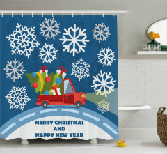 Kar ve Noel Kamyoneti Desenli Duş Perdesi Hediye