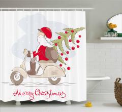 Yılbaşı Ağacı ve Noel Baba Desenli Duş Perdesi Şık