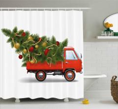 Yılbaşı Ağacı Desenli Duş Perdesi Noel Kırmızı Yeşil
