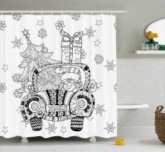 Noel Arabası Desenli Duş Perdesi Siyah Beyaz Hediye
