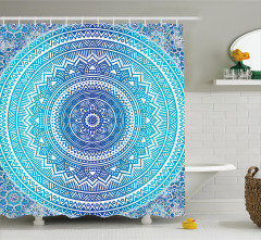 Şık Çiçek Desenli Duş Perdesi Mavi Beyaz Çeyizlik