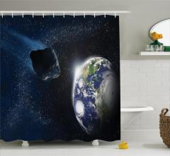 Meteor Çarpması Temalı Duş Perdesi Dünya Uzay Şık